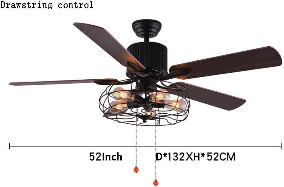 Luz de ventilador de techo de hierro forjado vintage, accesorios de iluminación de barra de restaurante de estilo industrial antiguo creativo 4 hojas de ventilador 5 luces (D * 132, H * 52 CM)-Drawst
