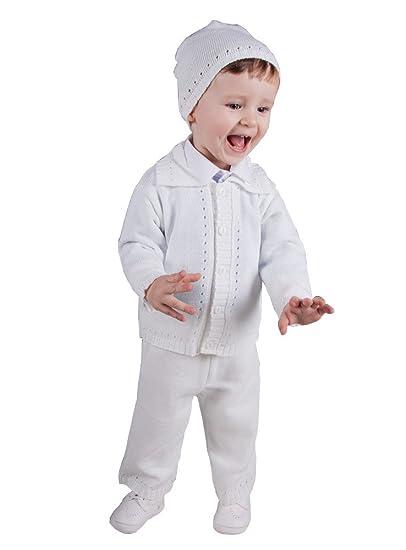 Baptême Garçon PiècesPantalonGilet 3 Tenue Blanc Bonnet xBeQordCWE