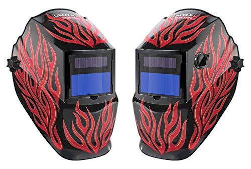 Lincoln Electric Red Steel Auto Darkening Helmet Variable Shade 9-13 (Electronic Helmet Welding Auto Darkening)