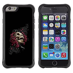 ZAKO CASES / Apple Iphone 6 PLUS 5.5 / Floral Rose Skull - Goth / Robusto Prueba de choques Caso Billetera cubierta Shell Armor Funda Case Cover Slim Armor