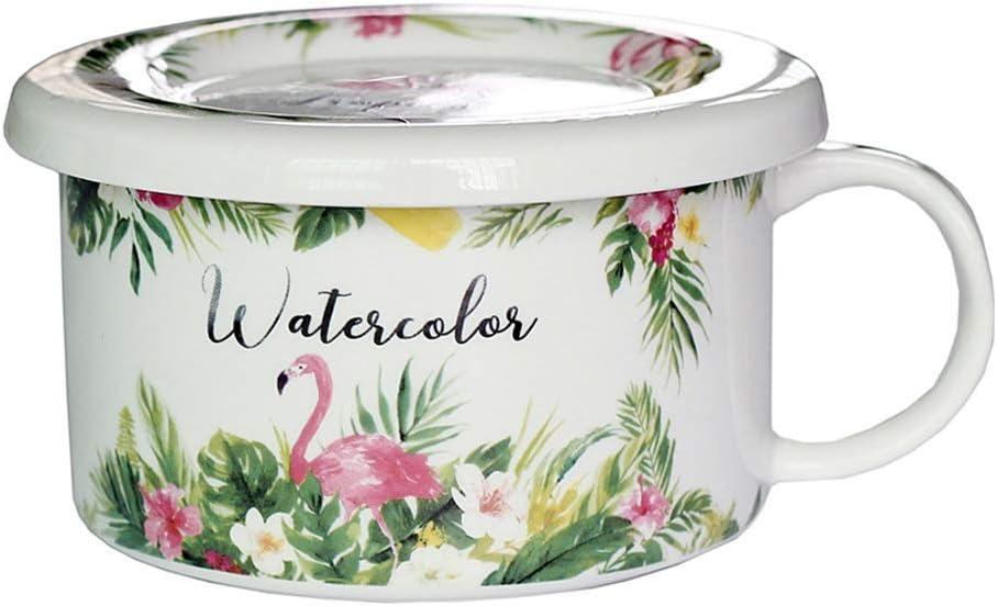 WCS Tazón Flamenco cerámica Desayuno harina de Avena Tazón con Cover Girl Pink Cubiertos Microondas Taza de Leche Sopa de gachas de Avena Tazón de Hogares instantánea de Fideos Tazón con la