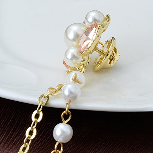 Champagne Tone Crystal Pearl Daisy Flower Brooches Pins with Pearl Chain Tassel Sweater Guard Clip Pin by OBONNIE (Image #3)