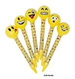 Emoji Pens for Kids – 6 Different Designs, Light-Up Non-Smudge Writing Pens, Great As Gifts, Party Favors & Classroom Reward, By 4E's Novelty,