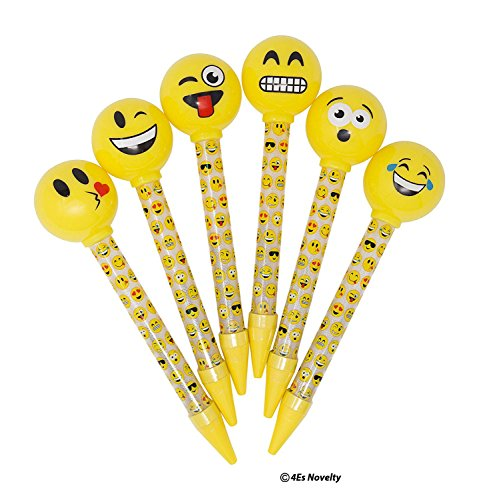 Emoji Pens for Kids – 6 Different Designs, Light-Up Non-Smudge Writing Pens, Great As Gifts, Party Favors & Classroom Reward, By 4E's Novelty, by 4E's Novelty