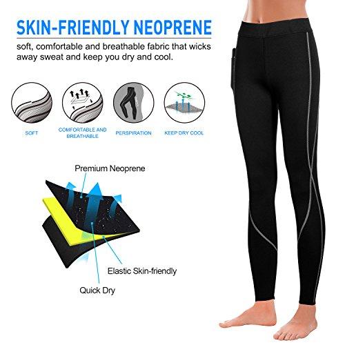 Irisnaya Women Hot Sauna Neoprene Sweat Tights Compression Pants for Weight Loss Thermo Slimming Capris Sport Yoga Leggings (Black, M)