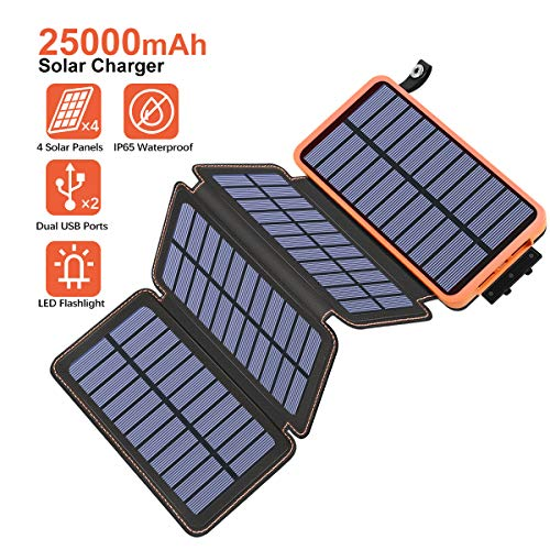 Hiluckey Solar Charger 25000mAh, Waterproof Power Bank Portable Solar Powered Charger for Outdoor Camping, with 4 Foldable Solar Panels for iPhone 11 pro/X/8/7/6, iPad, Samsung Galaxy etc.