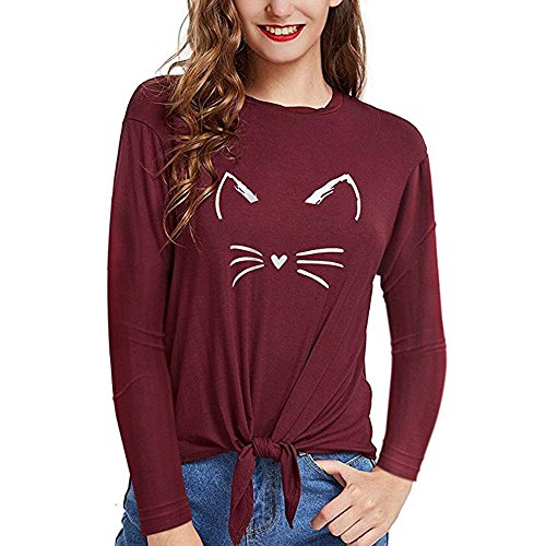 HGWXX7 Womens Tops Long Sleeve Casual Cat Print O-Neck Bandage Blouse T-Shirt(L,Wine Red)