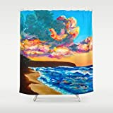 Hawaii Tropical Home Decor Stunning Shower Curtain by Michal - Hawaiian Sunset - Kaena point - 71x74 - Hawaii art, bathroom Island style