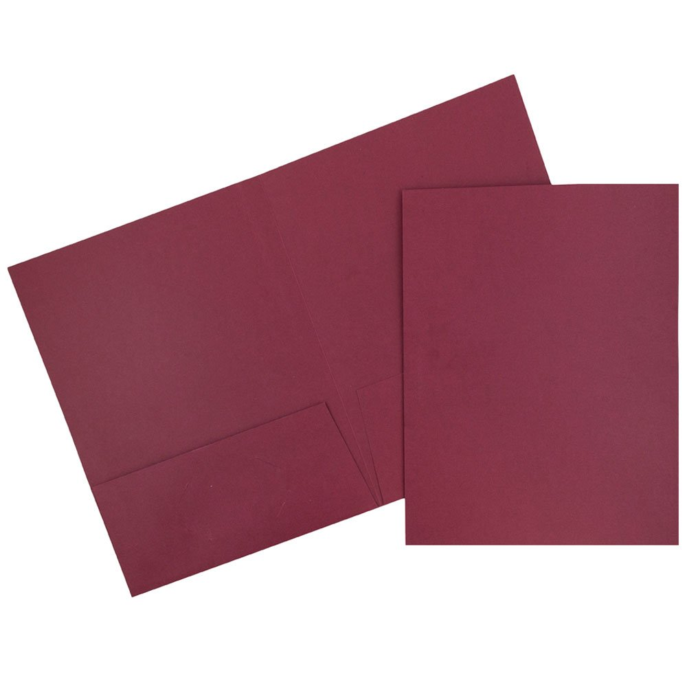 JAM Paper Linen Two Pocket Presentation Folder - Burgundy - 100/pack