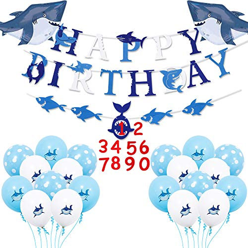 UTOPP Shark Birthday Party Decorations, Shark Happy Birthday Banner Under the Sea Ocean Theme Color Shark Balloons Large Shark Mylar Balloons for Kids 1st 2nd 3rd 4th 5th 6th 10th Birthday Supplies]()