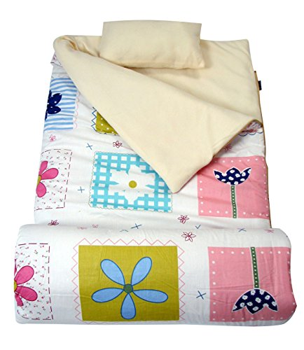 SoHo Kids Flowery Blooms Children Sleeping Slumber Bag with Pillow and Carrying case Lightweight Foldable for Sleep Over -