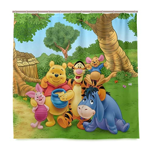MESKERIA Winnie The Pooh Shower Curtain Waterproof Polyester Fabric Bathroom Shower Curtain Fabric Shower Curtain 12 Hooks 72 x 72 inches