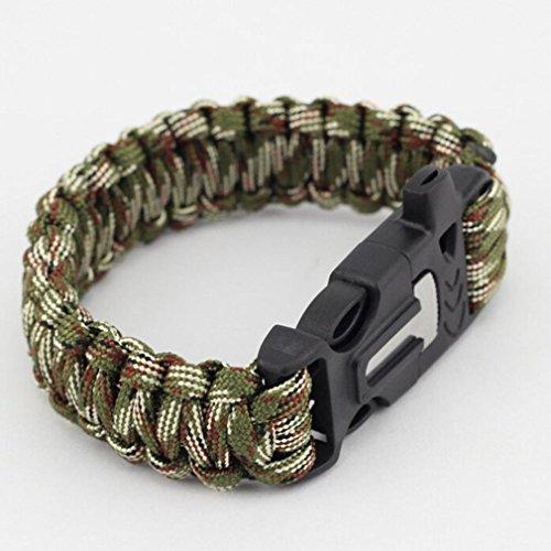 Bolayu Outdoor 4 in 1 Popular Rescue Rope Flint Fire Escape Bracelet Survival Gear - Drift Eyewear