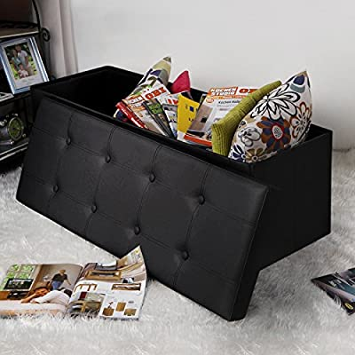 """Songmics Faux Leather Folding Storage Ottoman Large Bench Foot Rest Stool Seat Footrest 43.3""""x15""""x15"""""""