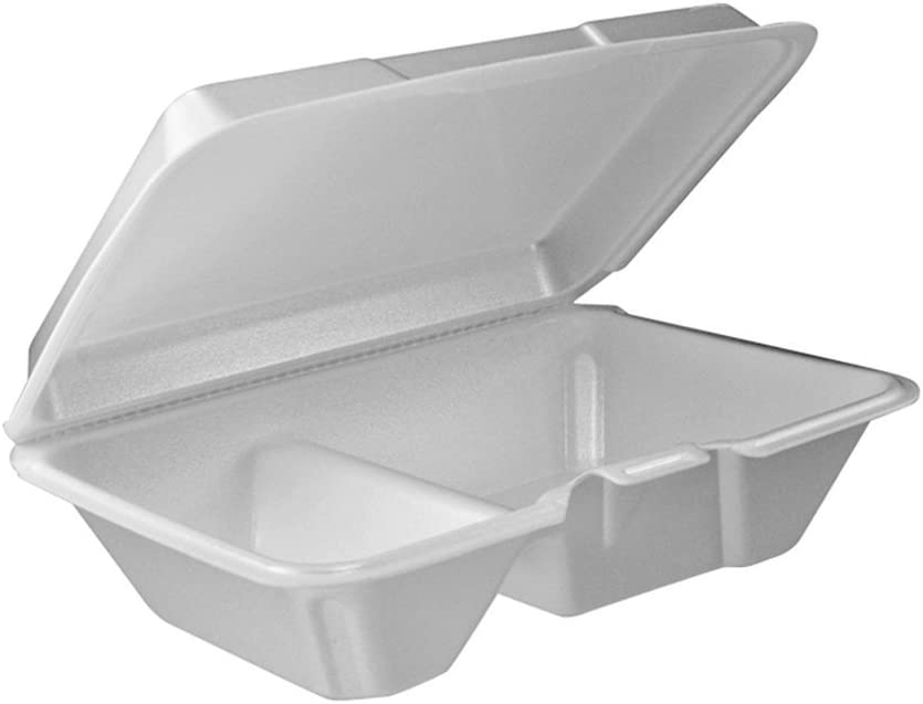 DART 205HT2, 9x6x3-Inch Performer White Two Compartment Foam Container with a Removable Hinged Lid, Carryout Food Disposable Containers (100)