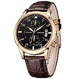 MEGIR Mens Sport Watches Casual Brown Leather Strap Chronograph Date Quartz Wrist Watch relojes hombre