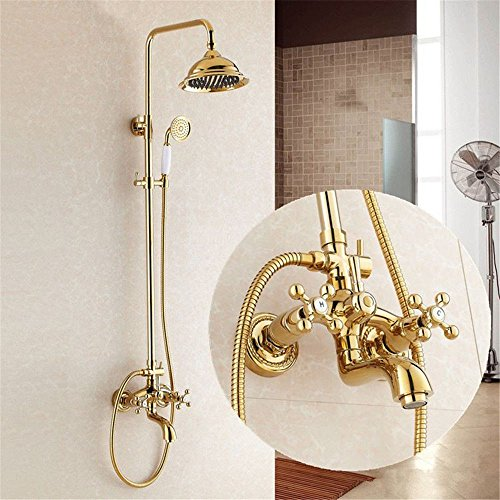 Guoke Bathroom Faucet Touch Bathroom Sink Faucet Titanium Gold Shower Faucet Shower Set Bathroom Copper Shower Wall-Mounted Liftable Rain Top Spray Hand Shower D38