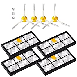 ANBOO Filter for iRobot Roomba 800 860 900 Series HEPA Filter & Side Brush Kit Part Fit 890 891 894 860 880 Vacuum Cleaning Replacement Parts Accessories Robots