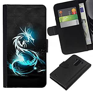 A-type (Shine Blue Dragon Tribal) Colorida Impresión Funda Cuero Monedero Caja Bolsa Cubierta Caja Piel Card Slots Para LG G3