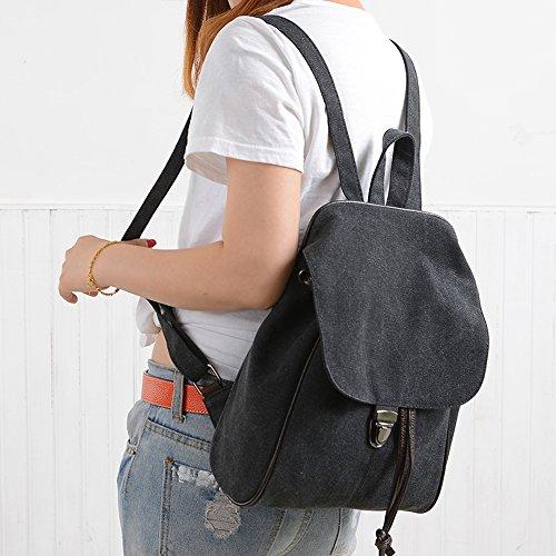 BYD - Mujeres School Bag Bolsos mochila Bolsa de viaje Canvas Bag Carteras de mano Bolsos bandolera with Mutil Function Pocket and 1 Lock Clap Negro