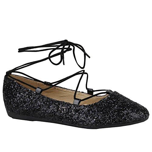 Stiefelparadies Klassische Damen Ballerinas Metallic Slippers Bequeme Flats Glitzer Party Schuhe Abendschuhe Schleifen Flandell Schwarz Arriate