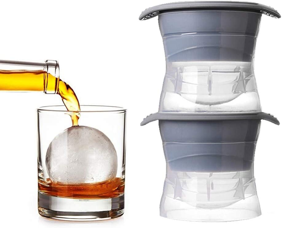 Sphere Ice Molds with Silicone Lid, 2.5 Inch Sphere - Set of 2 | Ice Ball Maker Ice Cube Mold for Chilling Bourbon Whiskey, Cocktail, Beverages and More