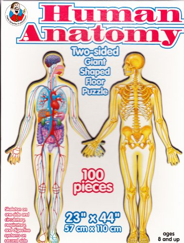 Human Anatomy Two-Sided Giant Shaped Floor Puzzle