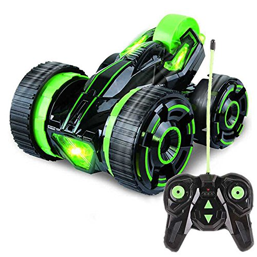 SZJJX Stunt RC Car Five Wheels Remote Control Car Vehicle with LED Headlights High Speed 360 Degree Rolling Rotating Rotation for Kids/Adult Green (Green)