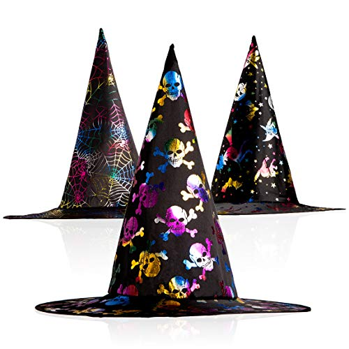 Witch Hat Adult Kids Costume Halloween Witch Party Cosplay Accessory 3 Pack (Onesize, Multicoloured)