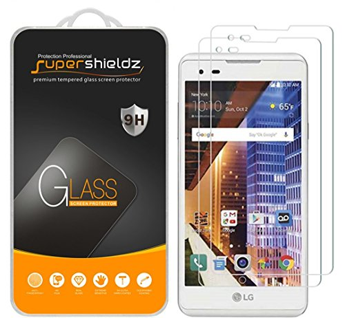 [2-Pack] Supershieldz for LG X Style Tempered Glass Screen Protector, Anti-Scratch, Anti-Fingerprint, Bubble Free, Lifetime Replacement - Glasses Styles