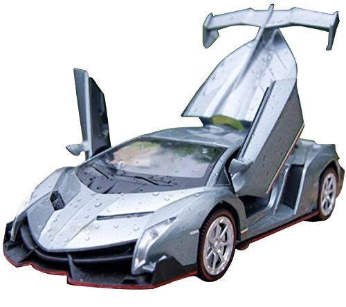 (NuoYa001 Grey 1:32 Lamborghini Veneno sports car Diecast Car Model Collection Sound&Light)
