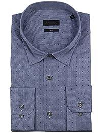 Z Zegna Blue Polka Dot Cotton Blend Dress Shirt Size 41/16.