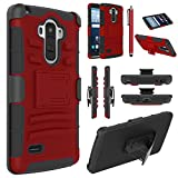 LG G Stylo Case, EC Hybrid Holster Case, Dual Layers Armor Case with Kickstand and Locking Belt Swivel Clip for LG G Stylo/LG G4 Stylus/ LG LS770 (Red/Black)