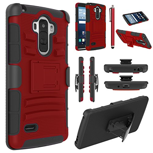 LG G Stylo Case, EC™ Hybrid Holster Case, Dual Layers Armor Case with Kickstand and Locking Belt Swivel Clip for LG G Stylo/LG G4 Stylus/ LG LS770 (Red/Black)