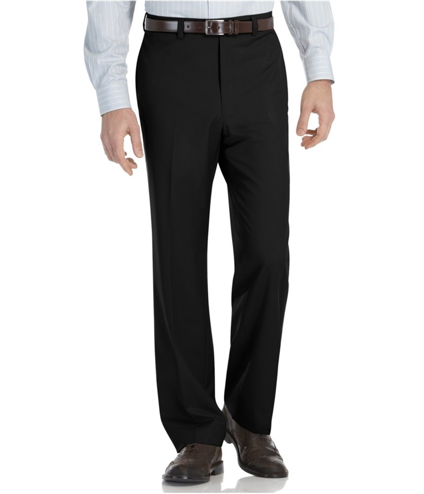 Calvin Klein Men's Straight Fit Flat Front Dress Pants Black 38x29