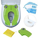 Travel Portable Folding Potty Training Toilet Seat Cover, Non Slip Silicone Pads, Suitable for Kids Baby Boys and GirlsS: more info