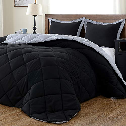 downluxe Lightweight Solid Comforter Set (King) with 2 Pillow Shams - 3-Piece Set - Black and Grey - Down Alternative Reversible Comforter (Bedroom Set Black All)