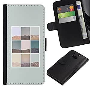 EuroTech - HTC One M8 - Nature Pattern Minimalist Poster Grey - Cuero PU Delgado caso Billetera cubierta Shell Armor Funda Case Cover Wallet Credit Card