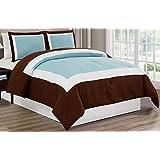 3 piece LIGHT BLUE / BROWN / WHITE Goose Down Alternative Color Block Comforter set, KING / CAL KING size Microfiber bedding, Includes 1 Comforter and 2 Shams