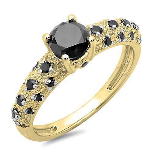 Dazzlingrock Collection 1.15 Carat (ctw) 10K Round Black Diamond Bridal Vintage & Antique Engagement Ring, Yellow Gold, Size 10