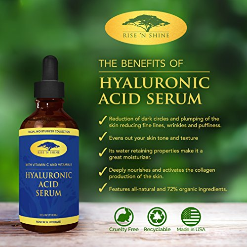 (4 oz) Hyaluronic Acid Serum with Vitamin C, Jojoba Oil, Aloe Vera, Witch Hazel & Green Tea - Best Organic Anti-Aging and Collagen Stimulant for Face, Skin and Eyes - Reduces Wrinkles and Fine Lines