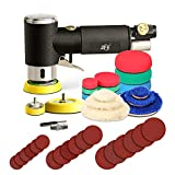 ZFE 1/2/3 Inch Random Orbital Air Sander, Mini Pneumatic Sander for Auto Body Work, High Speed Air Powered Sanders & Polisher with 15 Polishing Pads, 18 Sandpapers, 3 Plates, 1 Screw and Screwdriver