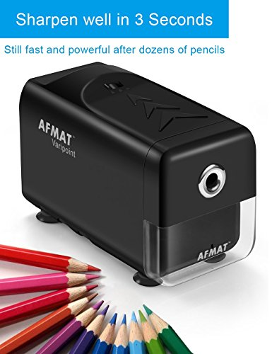 Heavy Duty Electric Pencil Sharpener, Durable Indrustial Pencil Sharpener for Classroom, Helical Blade, Auto Stop, Fast Sharpen in 3s, Suitable for NO. 2 and Colored Pencils, Home, School, Office Use by AFMAT (Image #1)