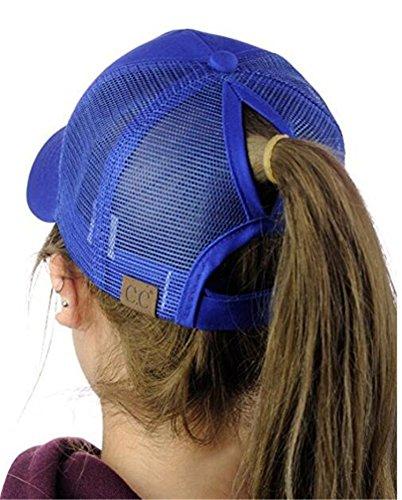 - Women Ponytail Baseball Cap High Bun Ponycap Messy Adjustable Mesh Visor Sun Cap,OneSize,RoylBlue