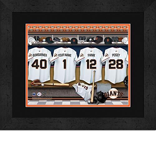 (San Francisco Giants Personalized MLB Baseball Locker Room Jersey Framed Print 14x18 Inches)