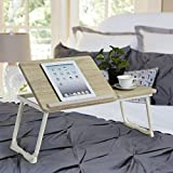 homy casa laptop desk adjustable portable breakfast serving bed tray with tilting top (beech and
