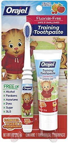 Orajel Daniel Tiger's Neighborhood Fluoride-Free Training Toothpaste & Toothbrush Combo Pack, Fruity Stripes, 1.0oz