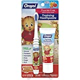 Orajel Daniel Tiger's Neighborhood Fluoride-Free Training Toothpaste & Toothbrush Combo Pack, Fruity Stripes, 1.0oz