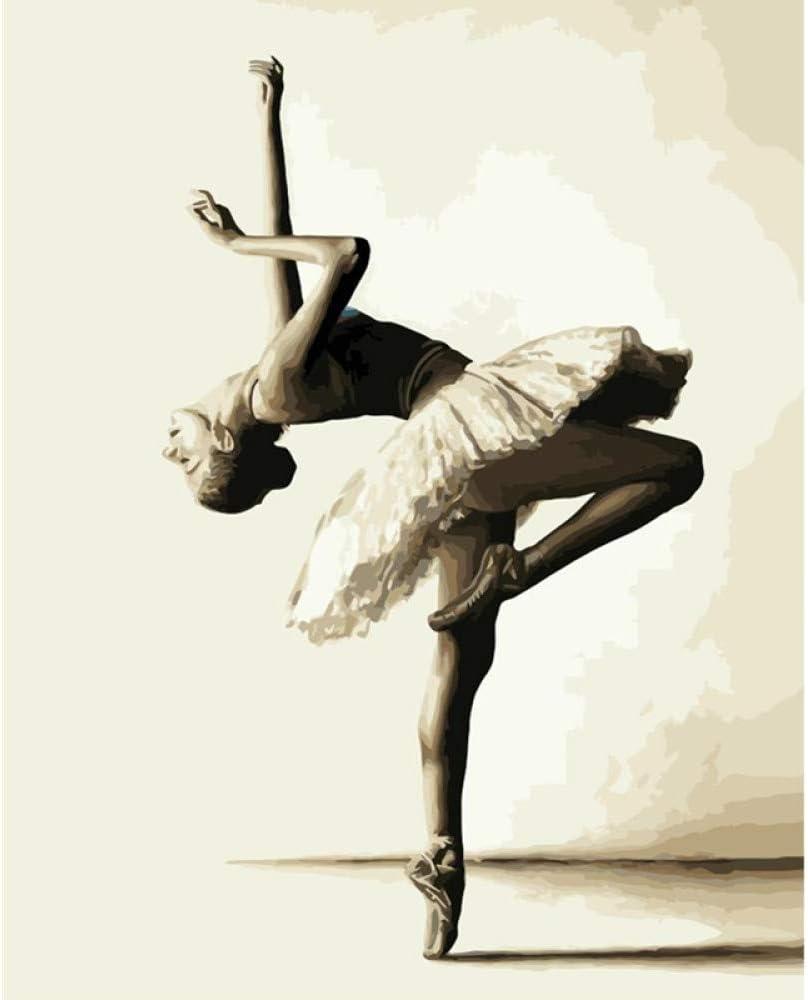 GKOO Pintura por Número De Kit,DIY Pintura Al Óleo para Adultos Niños Principiantes Blanco Y Negro Elegante Diseño del Patrón De Bailarín De Ballet Moderno Arte Abstracto Cuadros De Pared De Salón