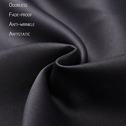 EMONIA Blackout Curtains Bedroom & Living Room Darkening - (Black, Width x Length:52